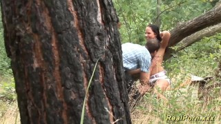 Preview 3 of german teen banged in the forest