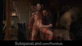 Chained submissive slave takes bondage deepthoat cumshot
