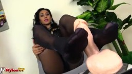 Footjob by Brunette in pantyhose