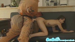 teen latina step sister chased by lesbian loving TREX on a hoverboard sex