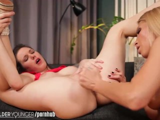 LesbianOlderYounger Teen Toyed in Wet Puss