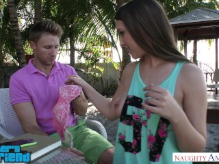 Horny Kimber Lee seduces her friend's brother outside - Naughty America