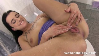 Nasty young brunette having so much fun alone