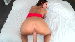 August Ames takes huge cock for a spin