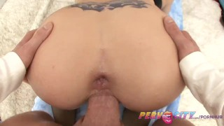 PervCity Filthy Nympho Christie Stevens Gets Fucked In The Ass  ass fuck big tits pervcity blonde blowjob cumshot big dick huge cock gagging anal stockings spit doggystyle deep throat prolapse shaved pussy