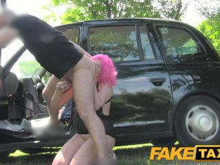 FakeTaxi Pink hair n wet pussy gets hammered