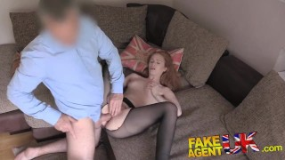 FakeAgentUK Unexpected creampie for sexy redhead whilst riding big dick  british creampie uk fakeagentuk audition redhead amateur blowjob cumshot pov casting hardcore reality petite interview real sex