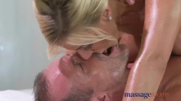 Massage Rooms Horny big tits blonde Milf sucks and fucks hard cock