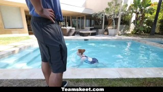 Fucked redhead the by coach cfnmteens swimming pale natural cowgirl