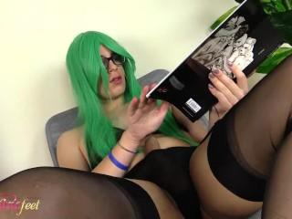Hot tgirl masturbates showing off her feet in black nylons