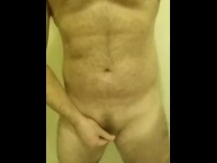 Hairy cub strokes his tiny cock - chub FTM jerks small clit dick