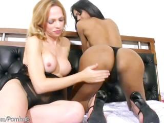 Shemale hottie is giving her TS girlfriend oral pleasure