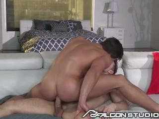 FalconStudios Hot Brunette Takes A Huge Cock
