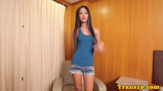 Beauty ladyboy doggystyled tight in ass cumshot shorts