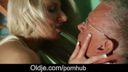 Cutie big tits girl fucking shy grandpa while naughty masturbating