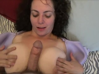 Fat tits slut titfucks with floppy tits