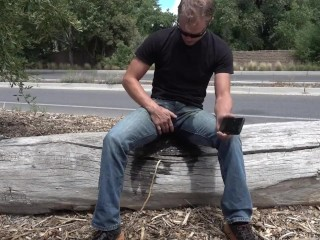 Wetting the cum stains in public