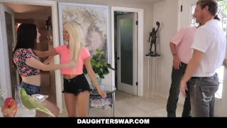 DaughterSwap - Daughters Fucked During Sleepover  dad blonde cumshot foursome orgy hardcore smalltits brunette daughter father shaved facialize bigcock group facial daughterswap