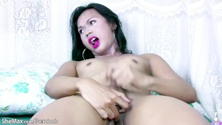 Asian tranny fondles her balls cameltoe and jerks tiny cock