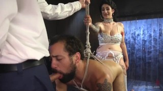 Arabelle's Basement Cuckold Debasement  divine bitches big tits bdsm humiliation femdom blowjob fetish domination divinebitches hardcore bisexual kink brunette 3some tattoos big boobs natural tits huge tits