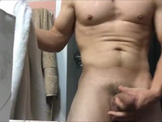 I shower showing off, then Jack off on chair and bed for my thick load!