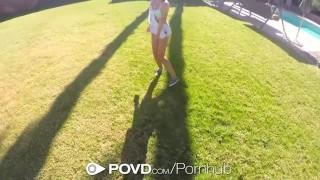 Preview 1 of POVD - Natasha White masturbates and fucks outdoors pov style