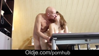 Horny Teen school girl deepthroat blowjob 69 sex with old teacher