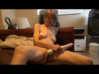 Cougar Cums With Power Tool