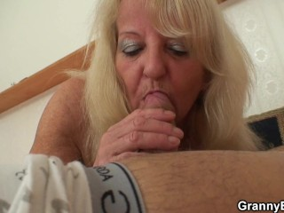 70 years old skinny granny in stockings riding