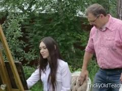 Tricky Old Teacher - Innocent teen student fucks her perverted at teacher