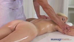 Massage Rooms Innocent blonde Milf has intense orgasm before creampie