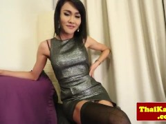 Solo asian shemale in stockings masturbating