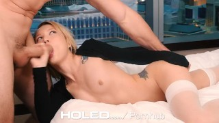 HOLED - Petite Dakota Skye spreads her tiny asshole for anal Amateur couple