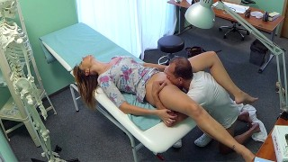 Hot Euro housewife gets her wet pussy fucked on examination table