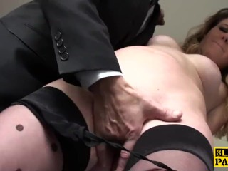 British sub slut doggystyled before squirting