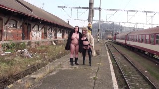 Photoshoot a on at hot cold january morning a staiton prague railway chubby pissing