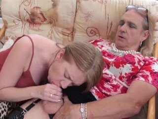 Cross Dresser Cathy Wanks and cums on Lily Mays Tits Then Licks it off