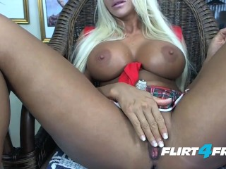 Blonde Hottie Adrianna Fox Plays With Her Big Boobs and Pussy