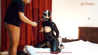 Black latex slut with ring gag deepthroating cock, dildo and fucked hard  ring gag blowjob ring gag deepthroat black latex hard bondage fuck latex hard fuck skull fuck dildo deepthroat bdsm kink rough throat fuck latex spitting in mouth latex mask throated hard bondage