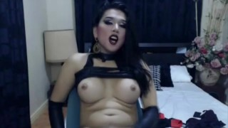 Gorgeous Goth Shemale Cums After a Hot Masturbation