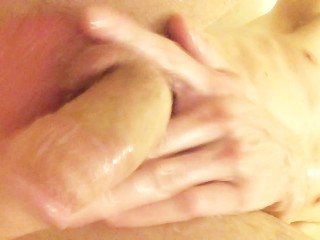 Cock-a-liscious stroking in the shower - young muscle twink with big cock