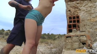 Babe peachy fucks cop arsed policeman fake spanish outdoors cock