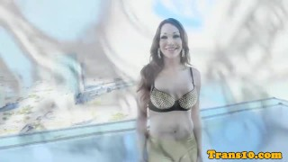 Rooftop tgirl cock her pulling on latina beauty jerking