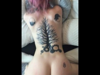 Tattooed pink haired girl fucked from behind pov doggy big ass SHORT CLIP!!