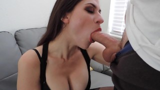 Party short before bj brunette blowjob