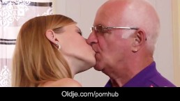 Horny college girl first time fucking grandpa after blowjob cum licking