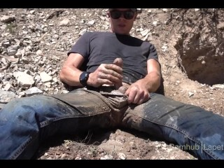 Public pissing jeans at a mine