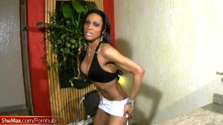 Jerks and boobs hottie ebony cool piercing with cock reveals black shemale