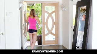 FamilyStrokes - College Bro Cums Home To Horny step Sis Sister Bed