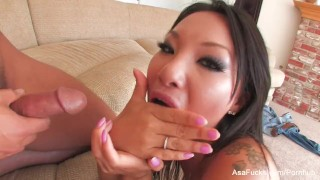 Super sexy Asa Akira fucks on the couch